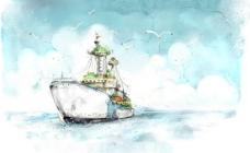 手绘海洋轮船风景PSD分层模