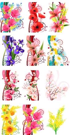 花卉彩绘花纹矢量图