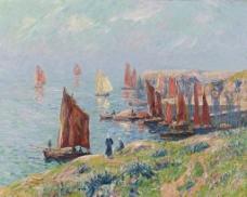 海边港口油画图片
