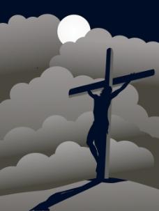 晚上用耶稣基督受难的背景