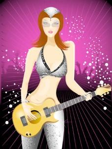 美丽的女孩带吉他