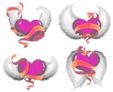 用红彩带的设计向量的三维心脏