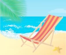 躺椅在海滩上的向量
