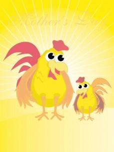 射线背景的鸡和鸡