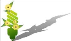 绿色环保类插画 卡通节能灯泡