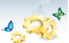 金色齿轮 商务金融插画