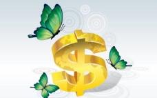 金色美元符号 金融插画