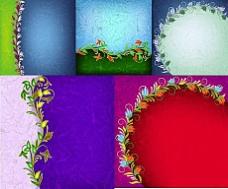 炫彩枝叶装饰石纹背景矢量素材
