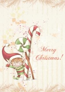 圣诞节插画矢量与精灵和冷杉