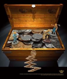 文化展板设计箱子里的矿工和硬币