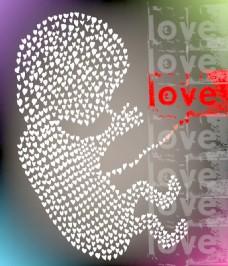 爱的矢量插图使胎儿
