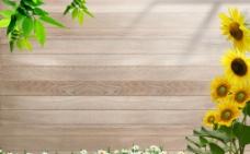 木板向日葵图片