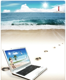 沙滩 笔记本banner图片