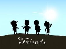 快乐友谊日背景的蓝色背景上的孩子们的身影