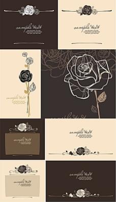 玫瑰折页封面矢量素材