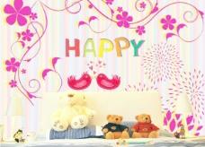 儿童房背景墙图案图片