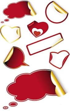 红色文本框标签贴纸矢量素材