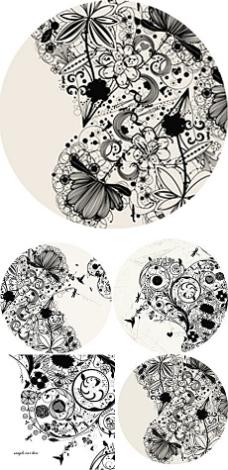黑白手绘花藤插图矢量素材
