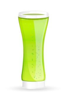 绿色饮料的玻璃载体