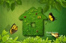 绿色草房子 儿童海报素材