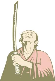 日本武士查握着剑