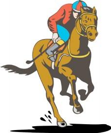 马和骑师的赛马复古
