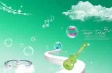 水晶音乐元素背景