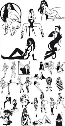 性感女性黑白矢量素材