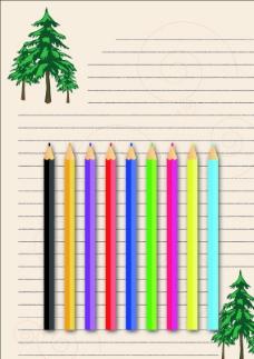 彩色铅笔信纸图片