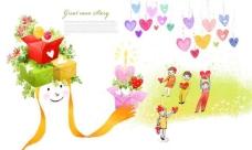儿童插画 收礼物