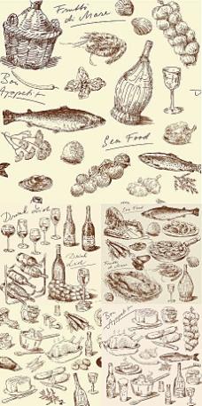 欧式精细手绘食物素材