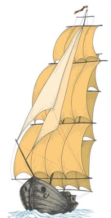 手绘帆船图片