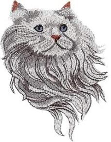 绣花 动物 猫 色彩 灰色 免费素材