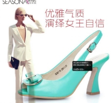 蓝色女鞋促销图图片