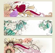 手绘花纹花朵横幅图片