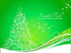 美丽的圣诞树在绿背景