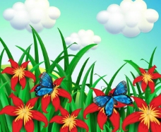 花卉花朵蝴蝶自然背景图片