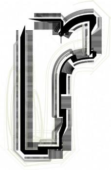 技术字体字母R