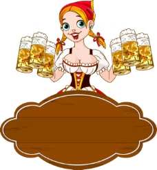 卡通啤酒女郎矢量素材