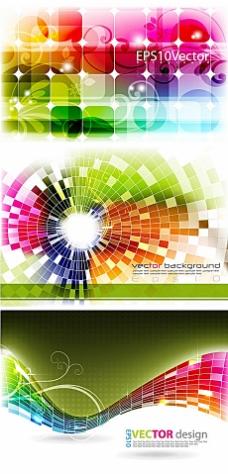 炫彩方形元素文本框背景矢量素材