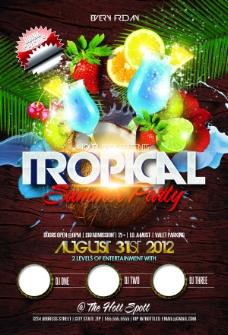 熱帶夏季派對宣傳單頁