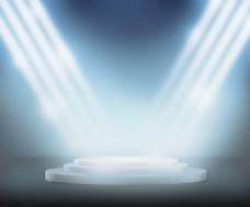 领奖台上的聚光灯蓝色背景