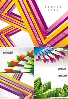动感立体几何线条卡片背景矢量素材