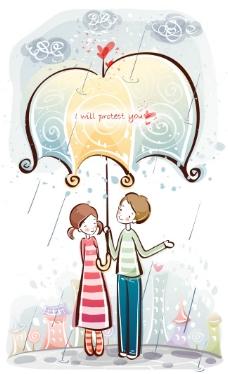 雨伞下的恋人