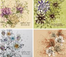 欧式古典花纹花朵底纹图片