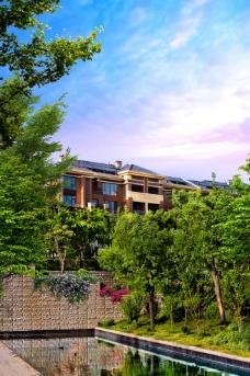 欧式洋房园林水景景观图片