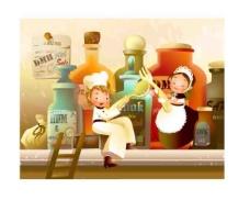 卡通女孩与厨房