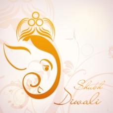 用花装饰艺术品的印度主甘尼萨的插图