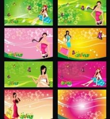 6款绿色春天海报吊旗矢量图片