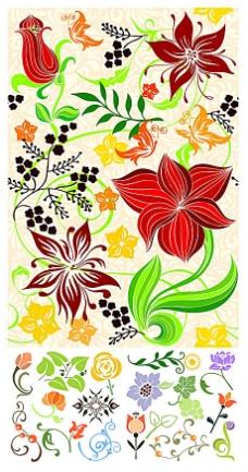 艳丽花卉图案背景元素矢量素材